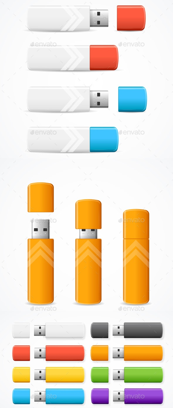 Realistic Detailed Color USB Flash Drive Set - Man-made Objects Objects