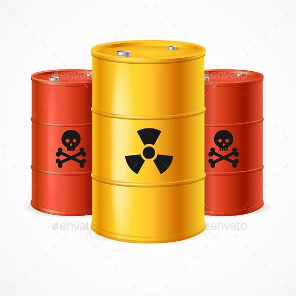 Realistic Detailed Radioactive Waste Barrels Set - Miscellaneous Conceptual