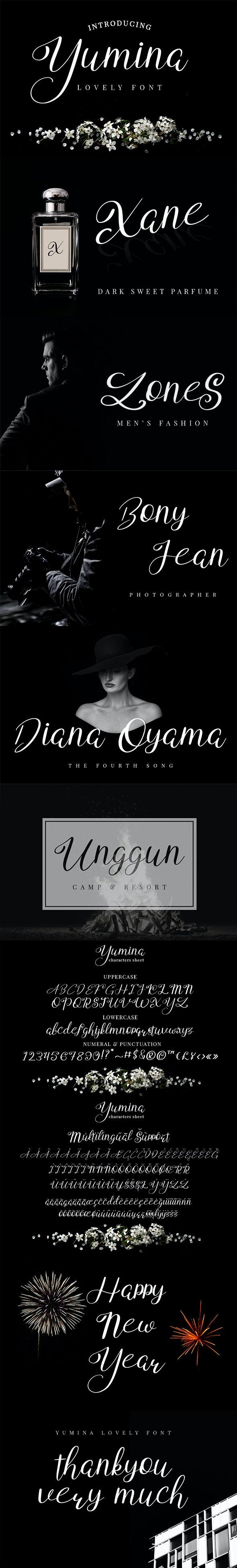 Yumina - Script Fonts