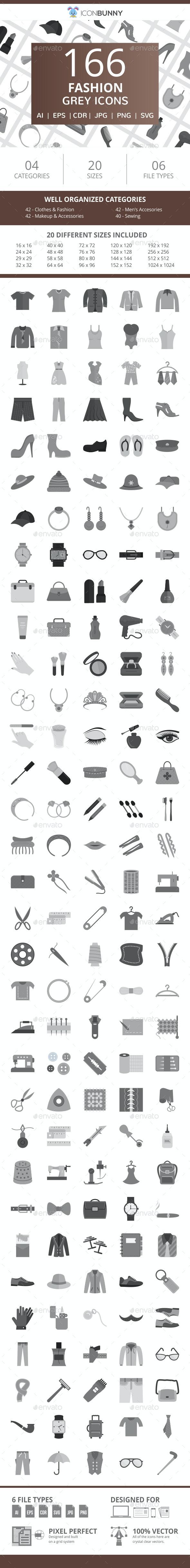 166 Fashion Flat Greyscale Icons - Icons