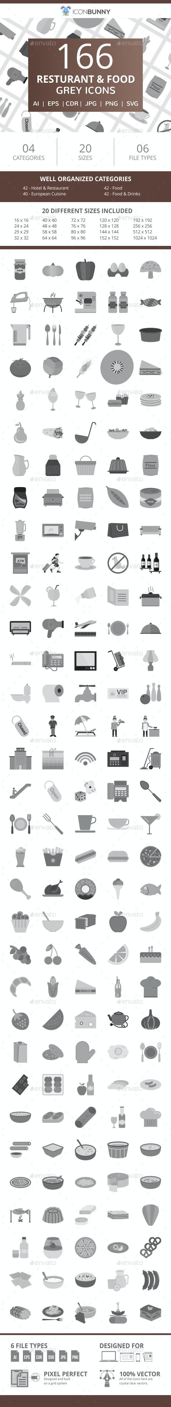 166 Restaurant & Food Flat Greyscale Icons - Icons