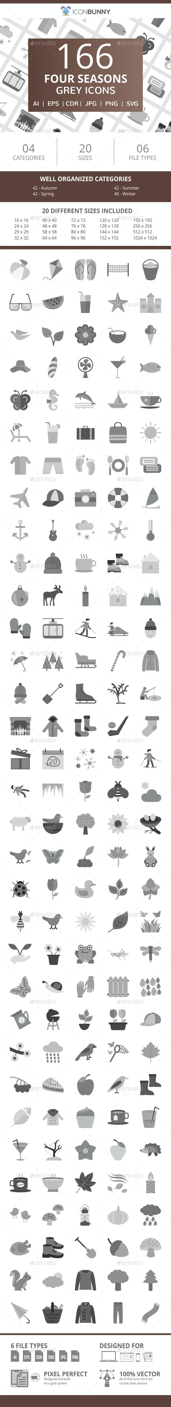 166 Four Seasons Flat Greyscale Icons - Icons