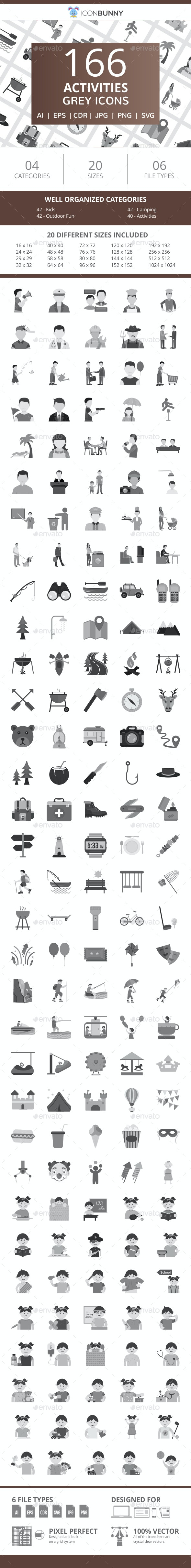 166 Activities Flat Greyscale Icons - Icons