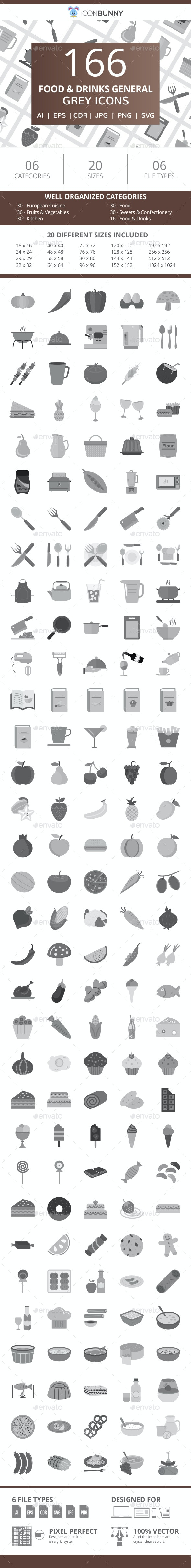 166 Food & Drinks General Flat Greyscale Icons - Icons