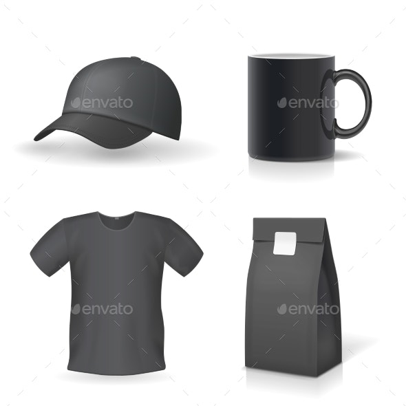 Classic Black Promotional Souvenirs Design Set - Man-made Objects Objects