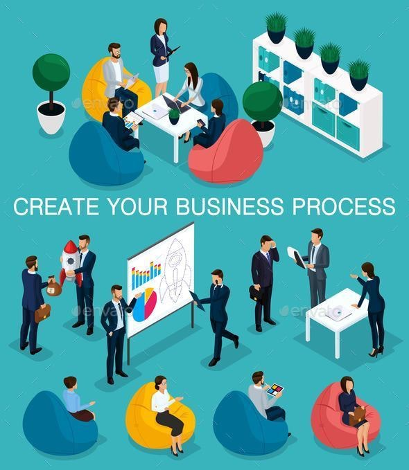 Isometric Businessman Development of Startup - Concepts Business