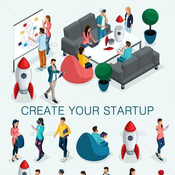 Isometric Businessman Development of Startup Creative Young People