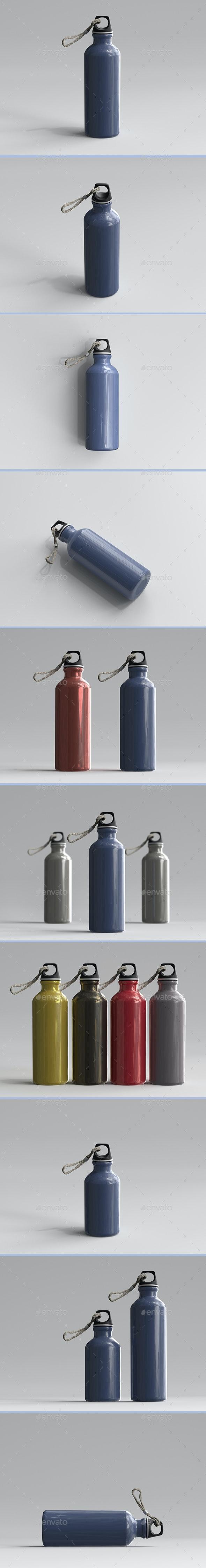 3D Rendered Aluminum Water Bottles - Objects 3D Renders