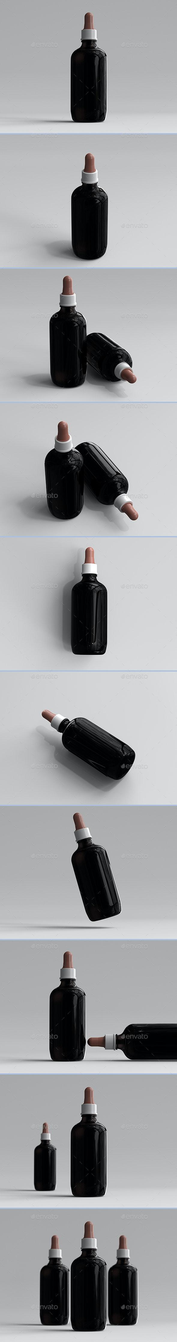 3D Rendered Large Amber Dropper Bottles - Objects 3D Renders