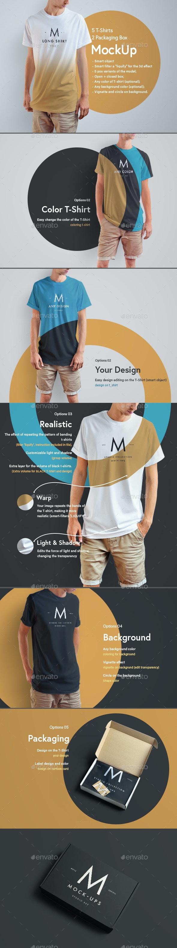 5 Moch-Ups Long T-Shirts + 2 Mock-Ups Packing Boxes - T-shirts Apparel