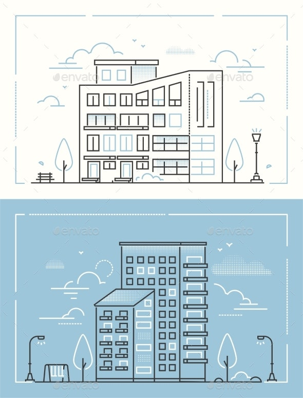 City Buildings - Set of Thin Line Design Style - Buildings Objects