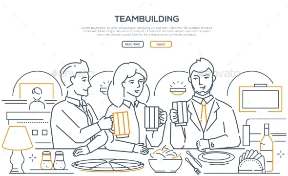 Teambuilding - Modern Line Design Style Web Banner - Concepts Business