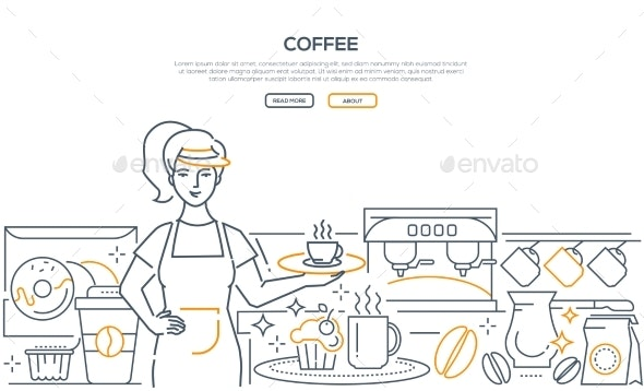 Coffee - Modern Line Design Style Web Banner - Industries Business