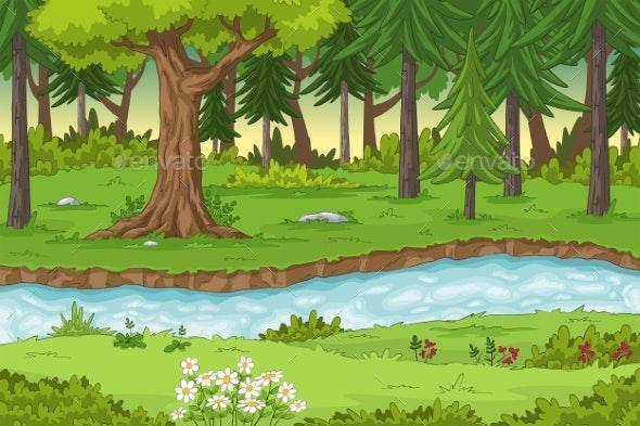 Cartoon Forest Landscape - Flowers & Plants Nature