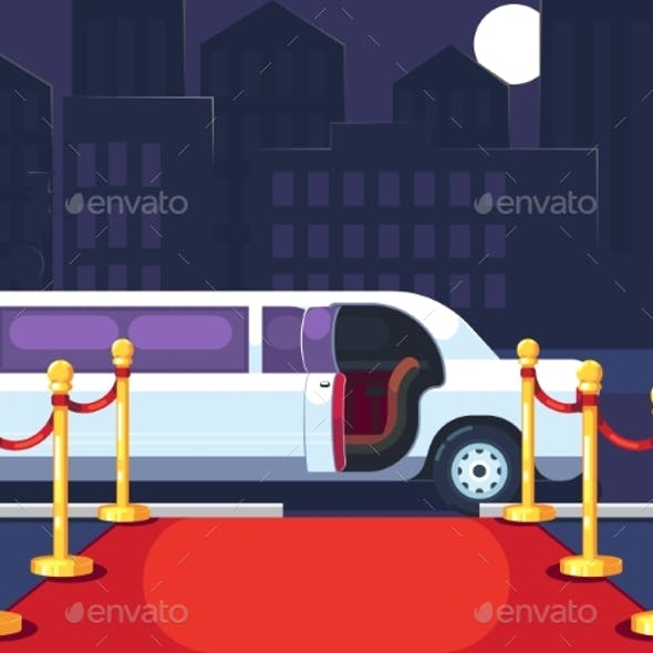 Empty Red Event Carpet with Rope Barrier