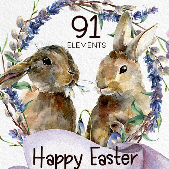 Happy Easter. Watercolor