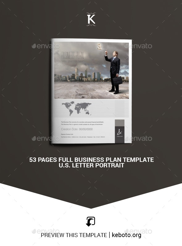53 Pages Full Business Plan Template - U.S. Letter - Miscellaneous Print Templates
