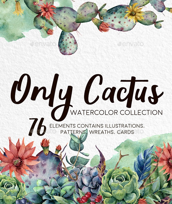Only Cactus. Watercolor Clip Art - Nature Backgrounds