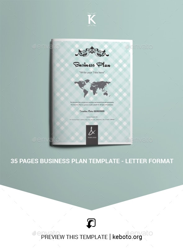 35 Pages Business Plan Template - Letter Format - Corporate Brochures