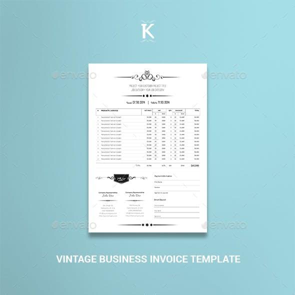 Vintage Business Invoice Templates