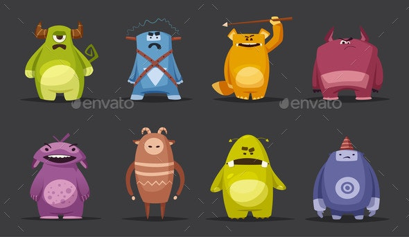 Monster Cartoon Vector Illustration - Monsters Characters