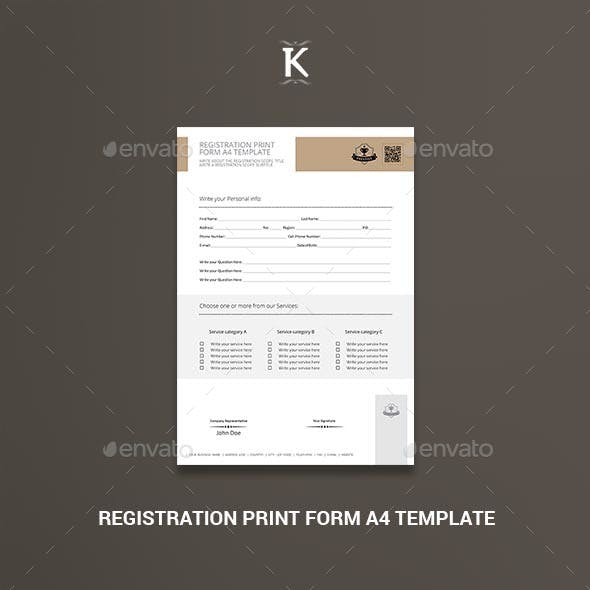 Registration Print Form A4 Template
