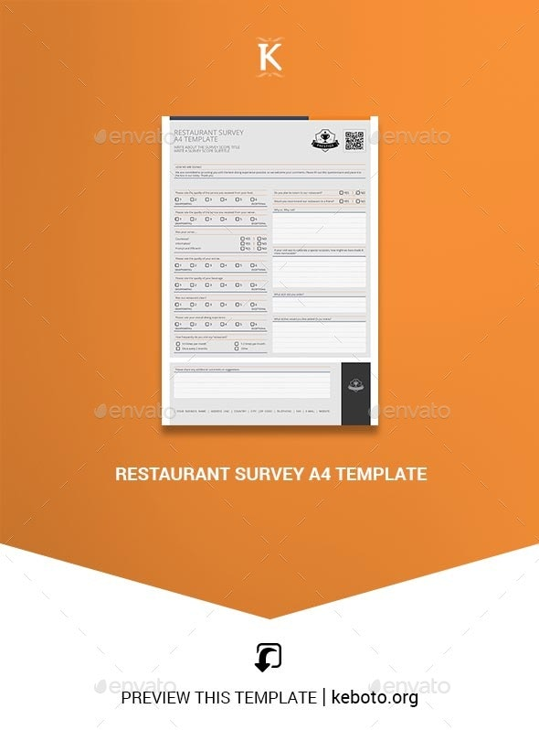Restaurant Survey A4 Template - Miscellaneous Print Templates