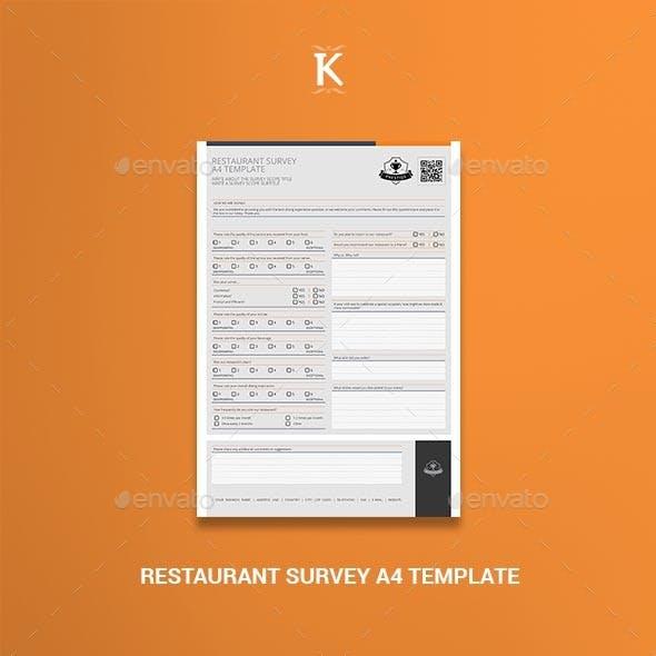 Restaurant Survey A4 Template