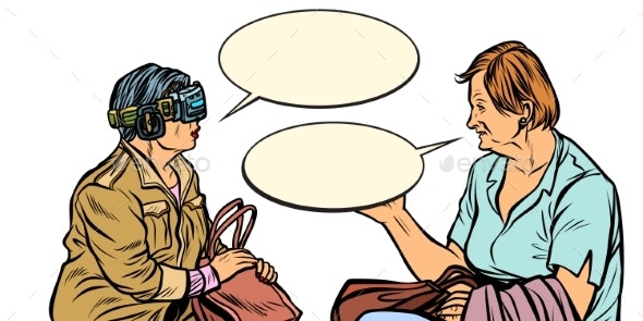 Conversation Older Women in Virtual Reality - People Characters