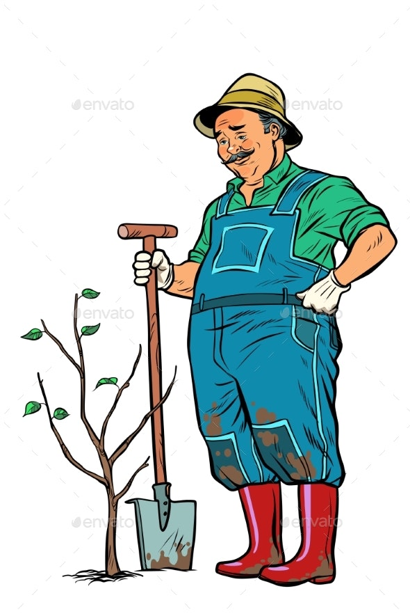 Old Gardener Plants a Seedling - Flowers & Plants Nature