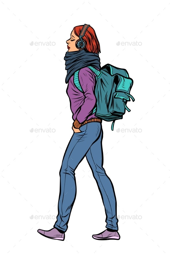 Woman with a Trendy Backpack - People Characters