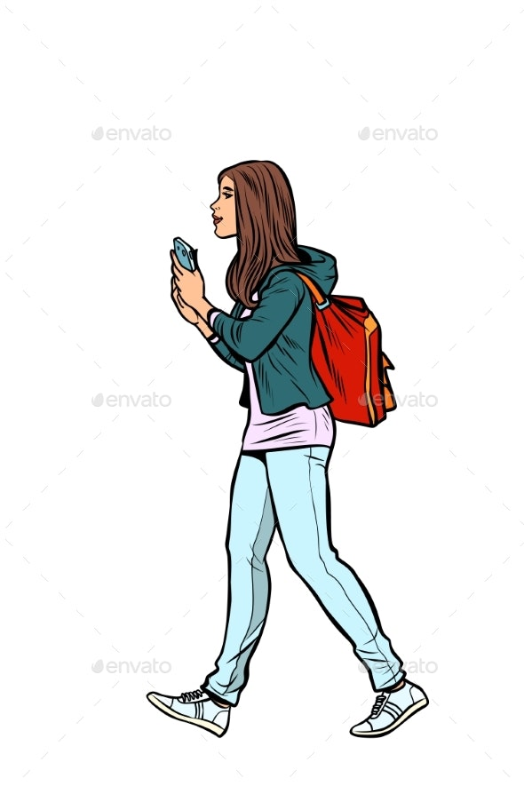 Teenage Girl with a Backpack - People Characters