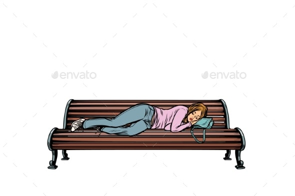 Young Woman Sleeping on a Bench - People Characters