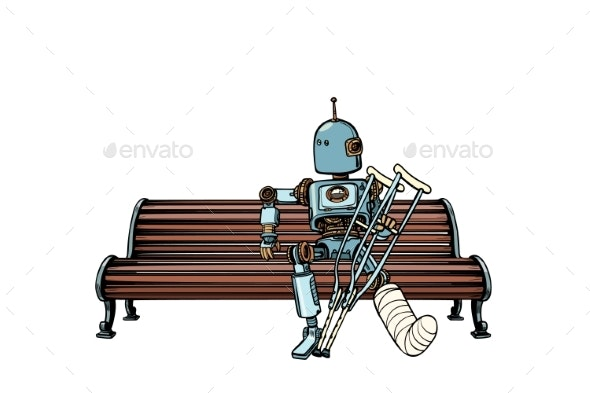 Robot with Broken Leg in Plaster Rest in the Park - Health/Medicine Conceptual