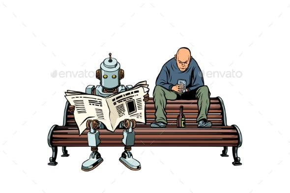 The Robot Reads the Morning Newspaper - Miscellaneous Vectors