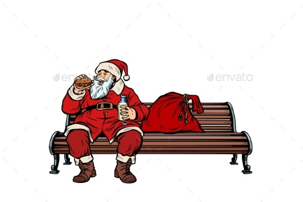Santa Claus Eats Fast Food Burger Park Bench - Food Objects