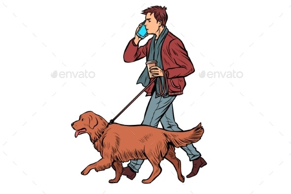 Man Walks with a Dog - People Characters