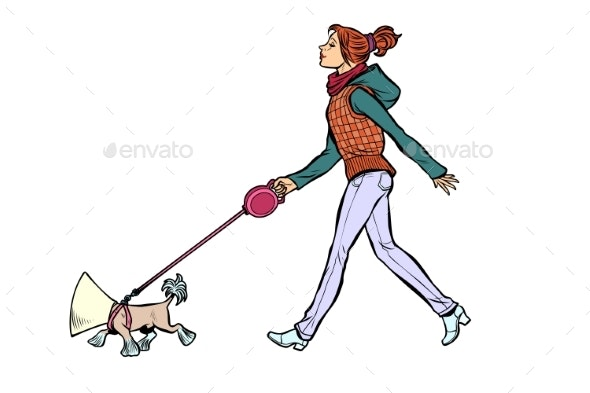 Woman with a Dog in a Protective Collar - Animals Characters