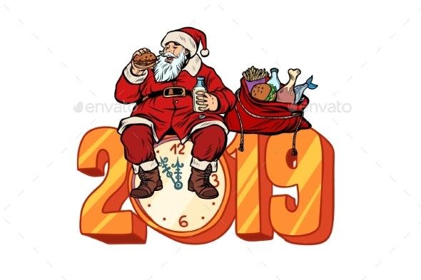 Hungry Santa Claus Eating New Year 2019 - Christmas Seasons/Holidays