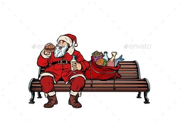 Santa Claus Hungry Eating on a Park Bench - Christmas Seasons/Holidays
