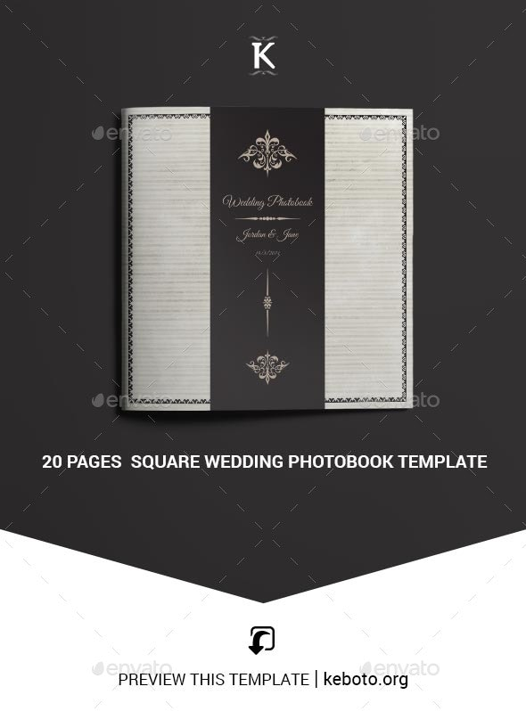 20 Pages Square Wedding Photobook Template - Photo Albums Print Templates