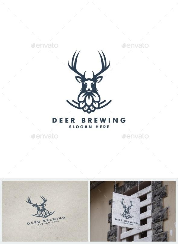 Deer Brewing Logo - Animals Logo Templates