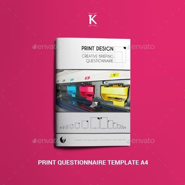 Print Questionnaire Template A4