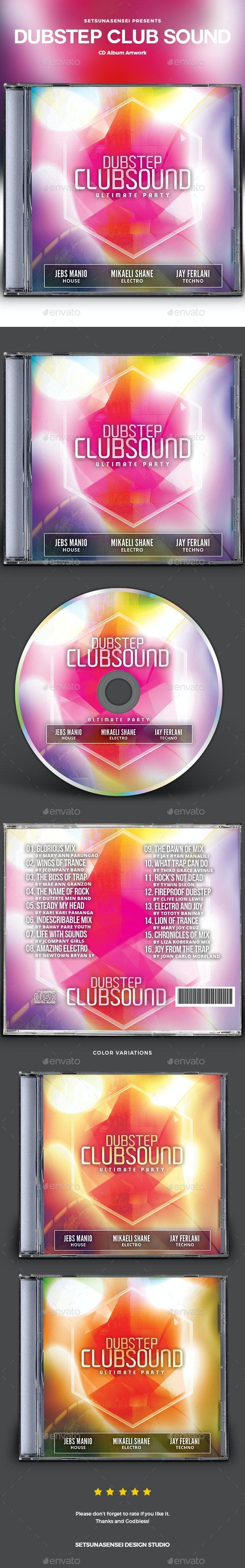 Dubstep Club Sound CD Album Artwork - CD & DVD Artwork Print Templates
