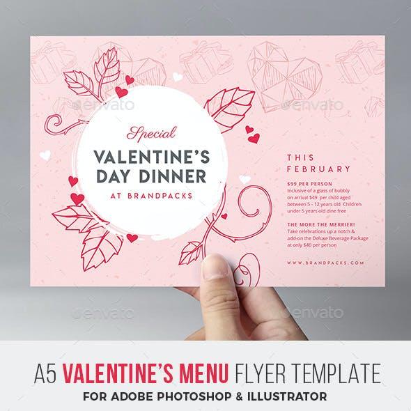 Valentines Day Menu Flyer
