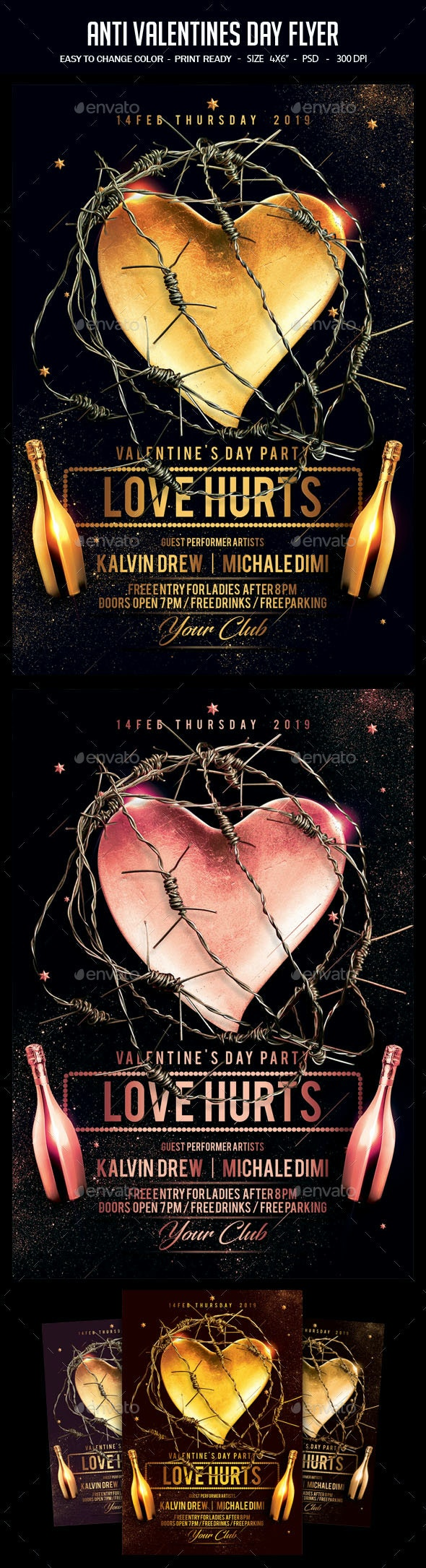 Anti Valentines Day Flyer - Clubs & Parties Events