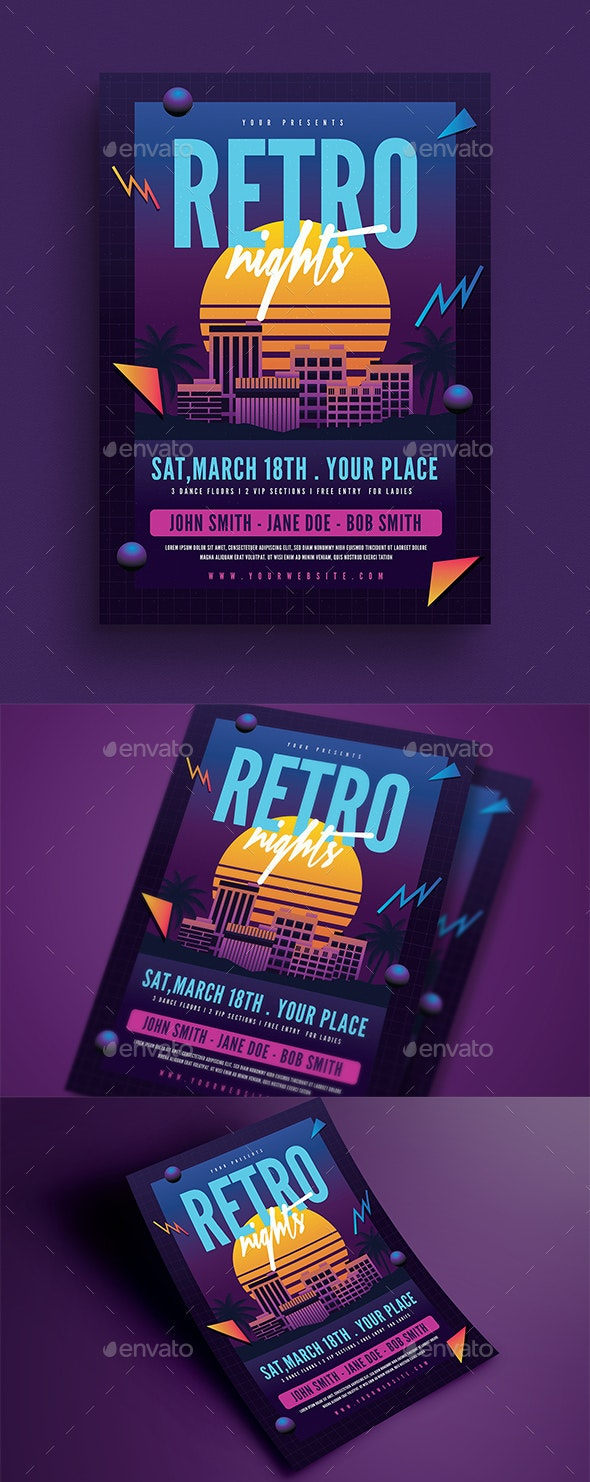 Retro Night 80s Event Flyer - Events Flyers