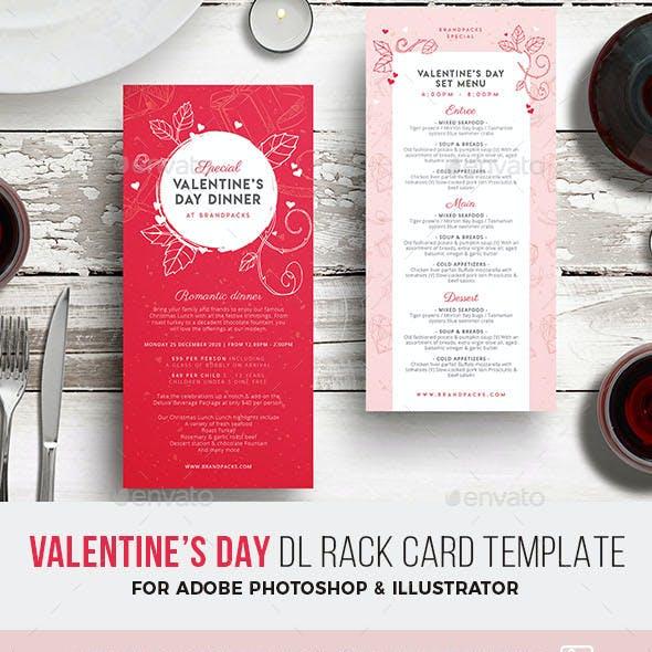 Valentines Day DL Menu Rack Card