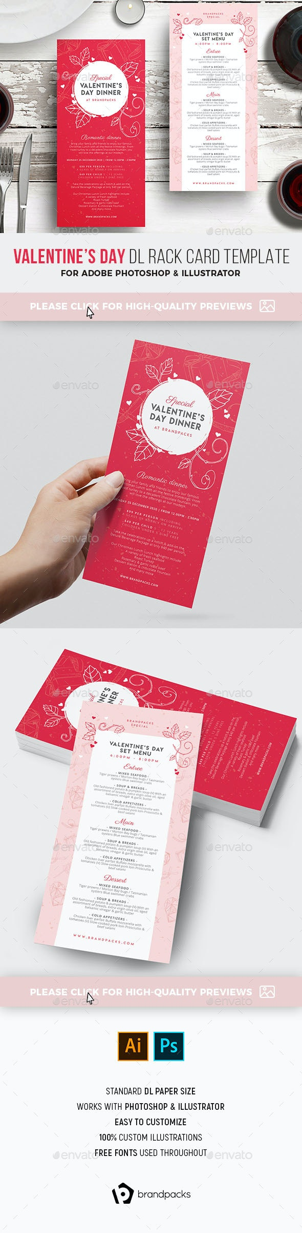 Valentines Day DL Menu Rack Card - Food Menus Print Templates