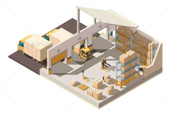 Isometric Warehouse with Parking Shipment - Industries Business